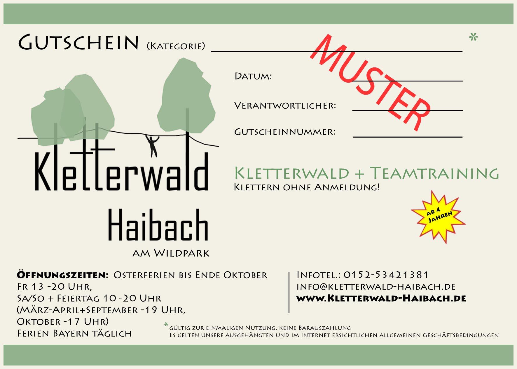 Gutschein Vorderseite Kletterwald Haibach_Homepage
